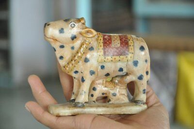 Old White Marble Cow & Calf Fine Quality Painted Handcrafted Figurine