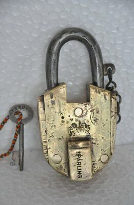 1930's Old Brass Solid Heavy Lion & Horse Monogram Handcrafted Padlock