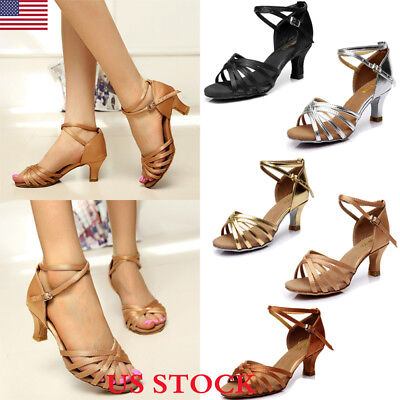 US Summer Women's Ballroom Tango Dance Shoes 5cm Heeled Prom Waltz Tango Sandals