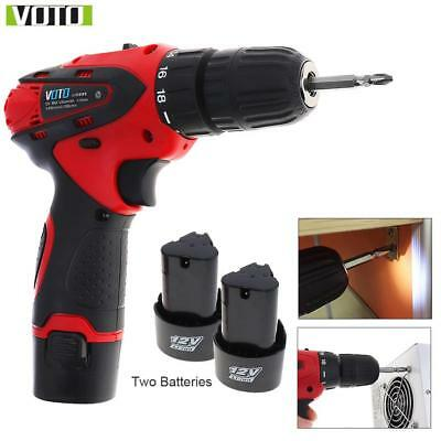 Rechargeable Cordless Screwdriver Drill Driver Bit Power Tool  Adjustable Speed