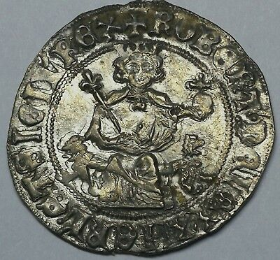 European Medieval Italy Robert of Anjou Silver Gigliato Coin Naples Mint XF/gXF