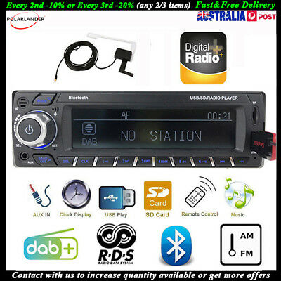 Bluetooth DAB+Car Stereo Radio MP3/WMA USB SD RDS AUX-In 1 Din Hands-Free Unit