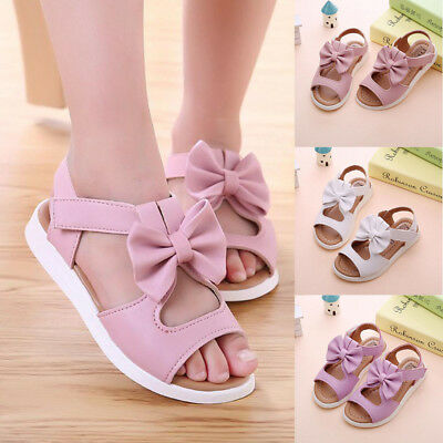 Lovely Baby Kids Girl Sandals Bowknot Flat Pricness Beach Party Wedding Shoes