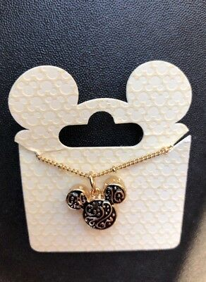 "Disney Parks Authentic Unique Vtg Look 18"" Necklace Mickey Icon Gold Black"