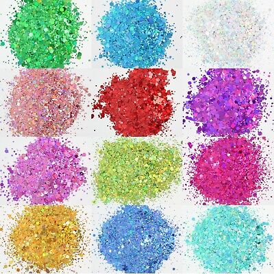 5g Holographic Chunky Glitter Mix. 12 Colours.