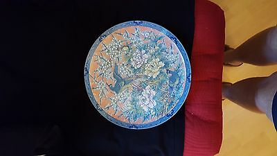 Japanese Plate orange, blue, pink green with two birds