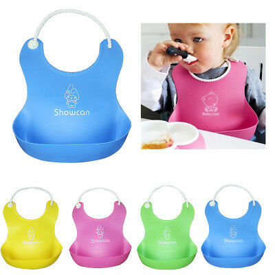 Cute Baby Soft Silicone Bib Waterproof Saliva Dripping Kids Infant Lunch Bibs UK