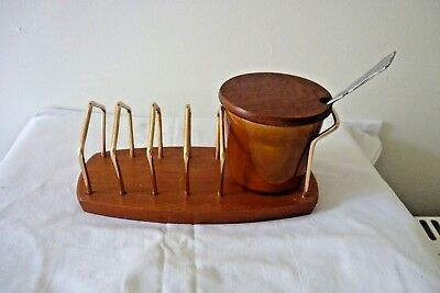 A Vintage Jam Pot & Toast Rack - Wyncraft England - With Spoon