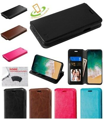 LG Stylo 4 Leather Flip Wallet Case Phone Cover Protective Card Slots Stand Plug