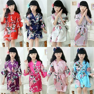 Children Kimono Dressing Gown Bath Robe Homewear Sleepwear Pajamas Kids Girl Boy