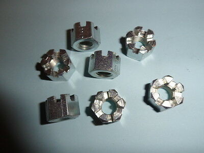 M8 SLOTTED ( CASTLE ) NUTS, BRIGHT ZINC PLATED, X 40 No.