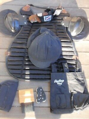 Lot Of Vintage Baseball Umpire Equipment Tru Play Gear Pads Hat