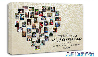 Heart Shaped Photo Collage Canvas Your Photo Onto Canvas Image Onto