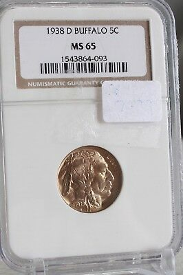 1938-D Buffalo Nickel  Graded By NGC MS 65