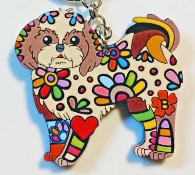 Lhasa Apso Dog Pup Acrylic Key Ring Multicolor Floral Brown Keychain Jewelry