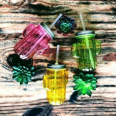 Colored Cactus Tumblers | Summer | Sippers | Glass Jars | Pink | Green | Yellow