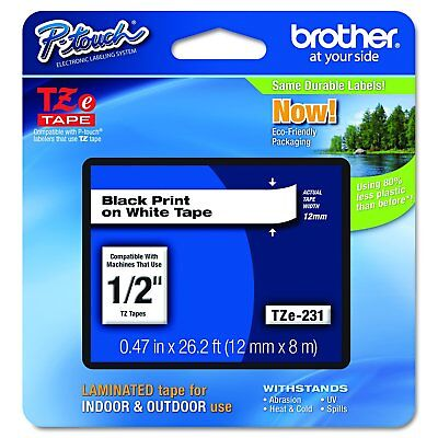 """Brother P-touch TZe231, 1/2"""" (0.47"""") Black on White Standard Laminated Tape - 26"""