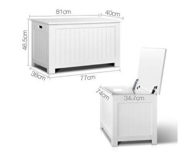 Toy Storage Bench Kids Box White Nursery Chest Cabinet with Lid Bedroom Bathroom