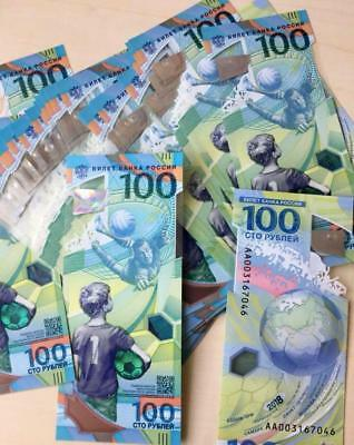 10 pcs * 100 rubles Russia 2018 FIFA World Cup Russia Polymer UNC