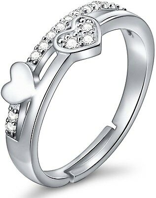 SILVER MOUNTAIN 925 Sterling Silver Simple Adjustable Wrap Open Heart Ring For
