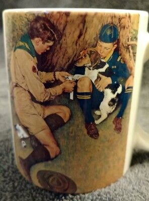 "MINT BSA Boy Scouts of America Ceramic Stoneware 3-3/4"" High Mug Cup Advertising"