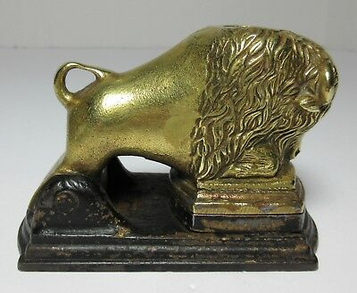 Antique FIGURAL CAST IRON BRONZE BUFFALO BISSON STAMP SEAL NEW YORK 19th Century