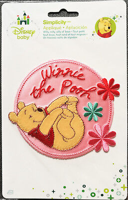@disney Pooh & Embroidered Flowers Iron-On/sew Applique/ Cloth Patch@nip