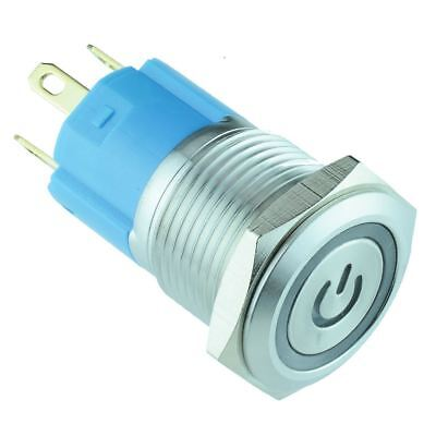 White Power LED 16mm Vandal Resistant Latching Push Button Switch 12V