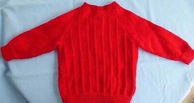Baby Hand Knitted Jumper, Red, Suit 3 To 6 Month Old (60)