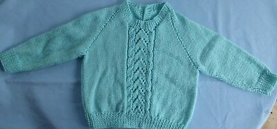 Baby Hand Knitted Jumper, Green, Suit 3 To 6 Month Old (58)