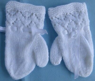 Baby Hand Knitted Mittens, White