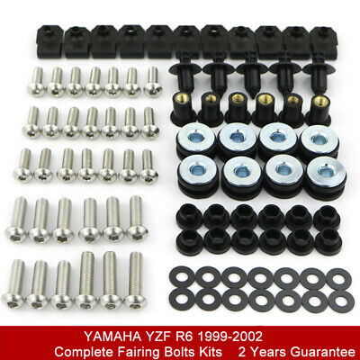For Yamaha YZF-R6 1999-2002 2000 2001 Complete Fairing Bolt Kit Body Screw Nuts