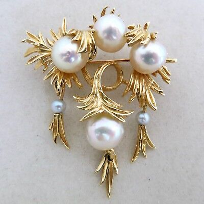 "Vintage 14K Yellow Gold & White Pearl / Pearls Brooch Pin  (13.5 grams, 1.85"")"