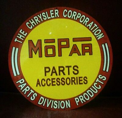 MOPAR Chrysler Corporation Parts Round Vintage LAST ONE Metal Sign FREE SHIPPING