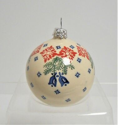 Boleslawiec Polish Pottery Large BALL Holiday Bells Pattern Christmas Ornament