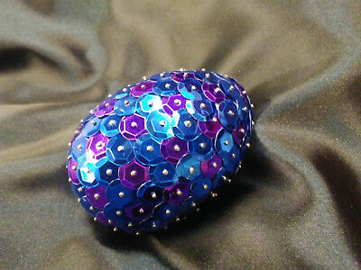 Handmade 3inch long Sequined Blue and Purple Dragon Egg