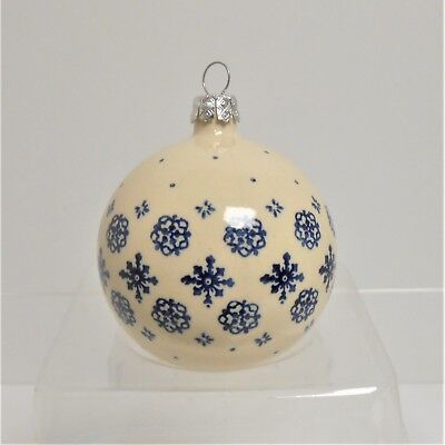 Boleslawiec Polish Pottery Large BALL Snow Flurries Pattern Christmas Ornament