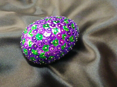 Handmade 3inch long Sequined Purple and Green Dragon Egg