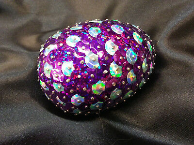 Handmade 3inch long Sequined Purple and Light Blue Dragon Egg