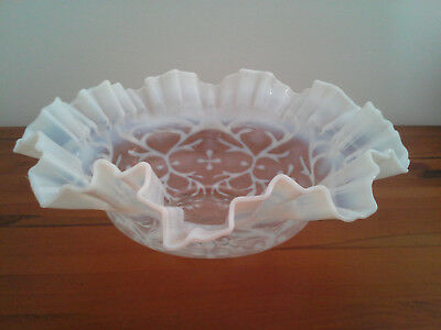 RARE VICTORIAN ANTIQUE MILK GLASS large FRILLED BOWL 1880s