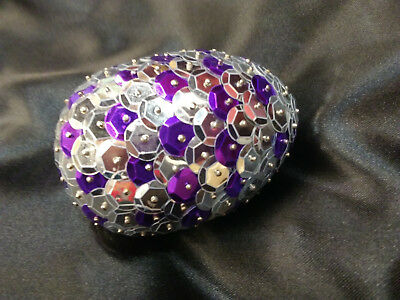 Handmade 3inch long Sequined Silver and Purple Dragon Egg