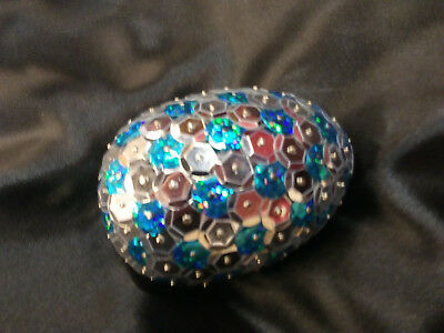 Handmade 3inch long Sequined Silver and Turquoise Dragon Egg