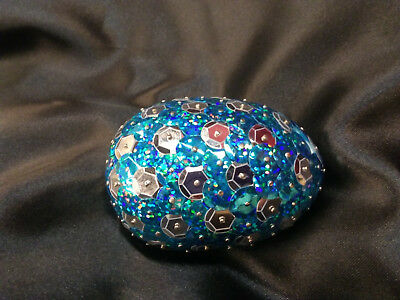 Handmade 3inch long Sequined Turquoise and Silver Dragon Egg