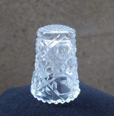 Lot/3 Beautiful Vintage Cut Crystal Clear Glass Thimble & 2 other glass thimbles