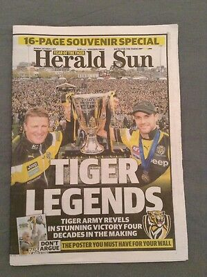 Monday Herald Sun - Richmond Premiers 2017 + Liftout + Norm Smith Medal Poster