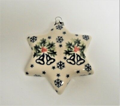 Boleslawiec Polish Pottery Large STAR Holiday Bells Pattern Christmas Ornament