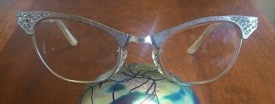 Vintage Cat Eye Glasses With RhinestonesBy Art Craft ~ Scalloped Side Arms