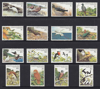 1982 CHRISTMAS ISLAND-BIRDS DEFINITIVE SERIES 1,2,3  Stamp Set of 16,  SG 152-67