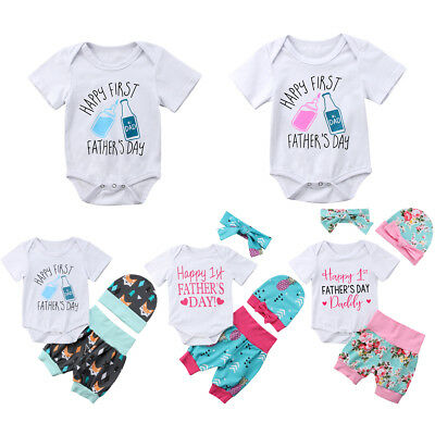 My 1st Father's Day Newborn Baby Girl Boy Summer Outfits Romper Pants Clothes AU