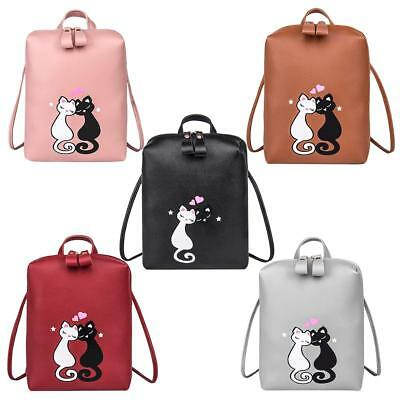 Cute Cat Printed Backpack Women Girls Casual Zipper PU Leather Shoulder Bag